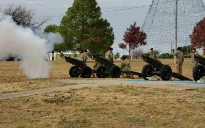 Fort Hood firing cannons in honor of President Bush