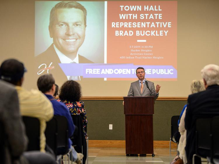 Buckley talks taxation, education, weed, more in town hall
