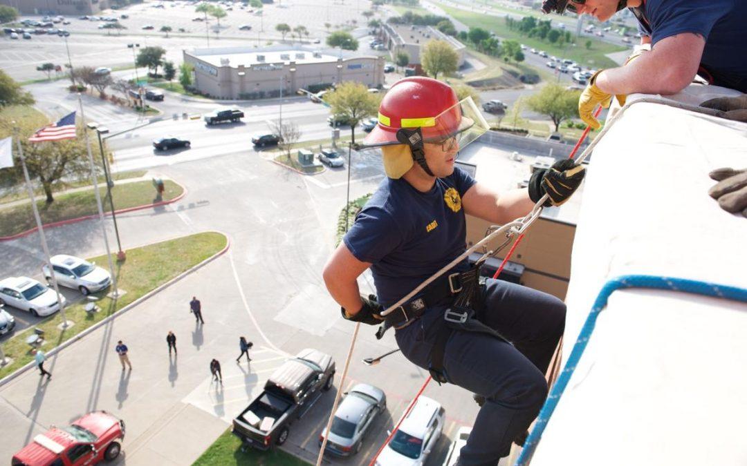 Killeen ISD Cadets practice rappelling off Killeen hotel