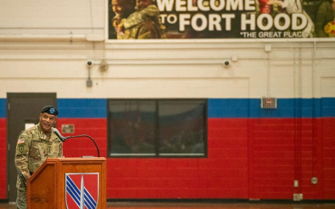 New brigade uncases colors for first time at Fort Hood on Tuesday